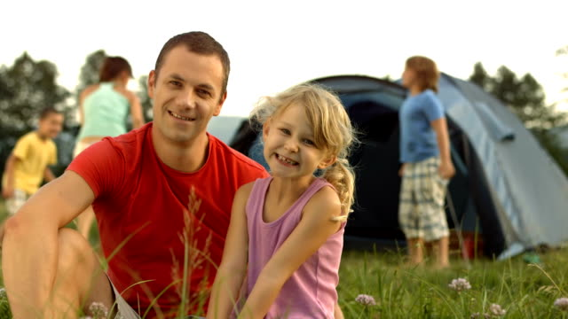 HD: Portrait Of Father And Daughter At The Campground