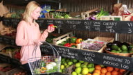 Portrait of Female shopping grocery in organic shop