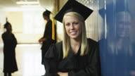 MS ZI Portrait of female student (16-17) in school corridor / Spanish Fork City, Utah, USA