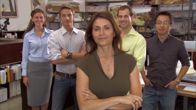 MS, Portrait of five business people in office