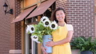 MS PAN Portrait of Florist in Front of Flower Shop / Richmond, Virginia, USA