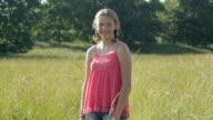 MS Portrait of girl (12-13) in meadow / Glen Gardner, New Jersey, USA