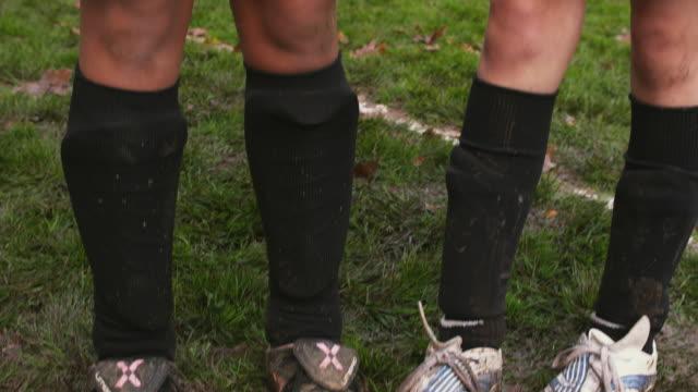 CU TU Portrait of girls (10-11) in soccer shoes / Portland, Oregon, USA