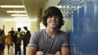 MS ZI Portrait of male student in school corridor / Spanish Fork City, Utah, USA