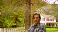 MS, TD, Portrait of man in front of country house, Phoenicia, New York, USA