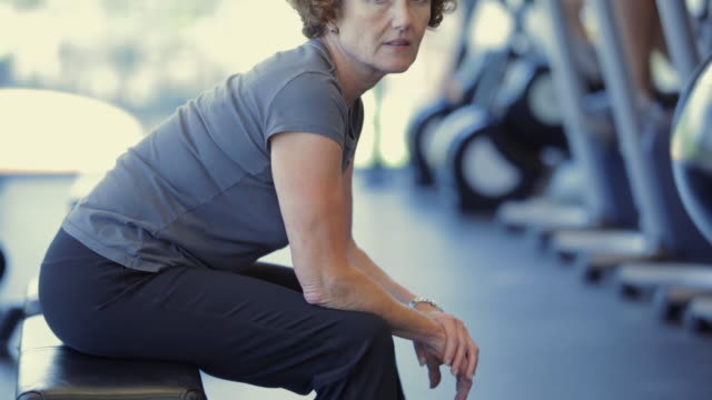 MS TU Portrait of mature woman in gym / Vancouver, British Columbia, Canada