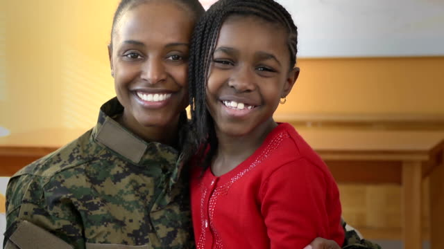 Portrait of Military Mother and Daughter