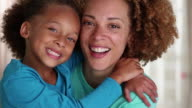 CU Portrait of Smiling Mother and Daughter / Richmond, Virginia, United States