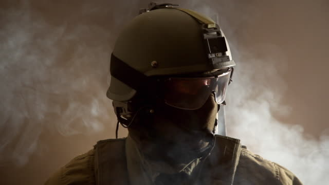 CU, Portrait of Special Forces Operator in full protection gear, Tampa, Florida, USA