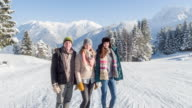 Portrait of three firends in winter lanscape, Bavarian Alps