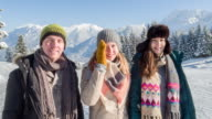 Portrait of three firends in winter lanscape, Bavarian Alps