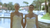 MS Portrait of two brides holding hands, Jacksonville, Florida, USA