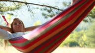 Portrait of woman relaxing on hammock