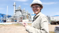 Portrait woman engineer working with Electrical Power Plant