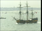 Portsmouth Variety of naval vessels from all over the world gathered in solent for reenactment of Battle of Trafalgar to mark 200 years since Horatio...