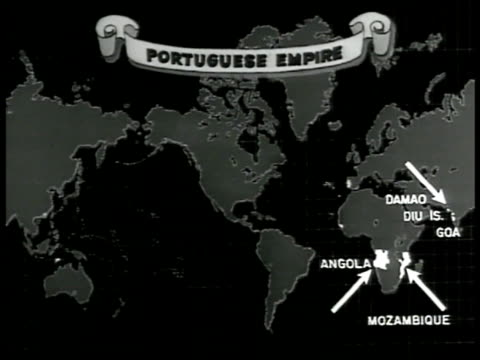 MAP 'Portuguese Empire' highlighting areas on world map CU Land comparison of Angola amp Mozambique against Portugal