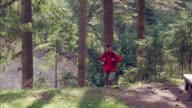 Positiven touristischen Wandern im Wald