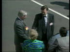 Possible Police reorganisation EXT/MAY 1992 Yorkshire Scarborough Kenneth Clarke MP out car ZOOM IN as meets Police Fed rep MS Clarke with others PAN...