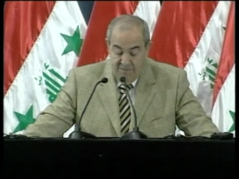 Baghdad INT Ayad Allawi speech SOT Today we are entering a new phase in our history/ it's time for all Iraqis to come together and build our future/...