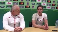 Post match press conference with England coach Simon Middleton and captain Sarah Hunter after England beat France 203 in the Women's Rugby World Cup...