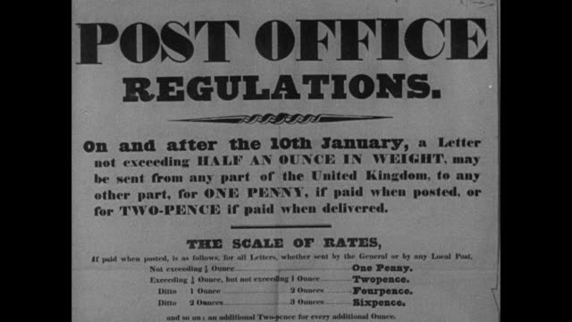 MONTAGE Post office regulations flier and woman in shawl and men in top hats handing letters and coins to attendant through post office window / England, United Kingdom