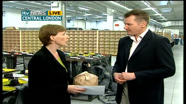 London Royal Mail sorting office INT Lorna Clarkson interview SOT need to align prices with actual costs involved for Royal Mail