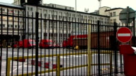 Postal workers' dispute managers expected to provide cover for striking workers ENGLAND London EXT Views through railings at Royal Mail sorting...