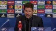 Postmatch press conference with Atletico Madrid manager Diego Simeone after their clash at home against Leicester City in the Champions League...