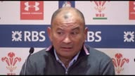 Postmatch press conference with England head coach Eddie Jones after England beat Wales 1621 in the Rugby Union Six Nations match at the Principality...