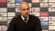 Postmatch press conference with Pep Guardiola who praises David Silva on his 300th game for Manchester City