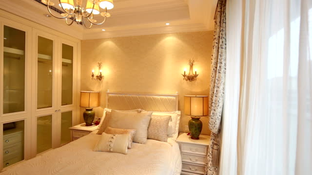 Postmodern luxury bedroom and decoration, Real time.