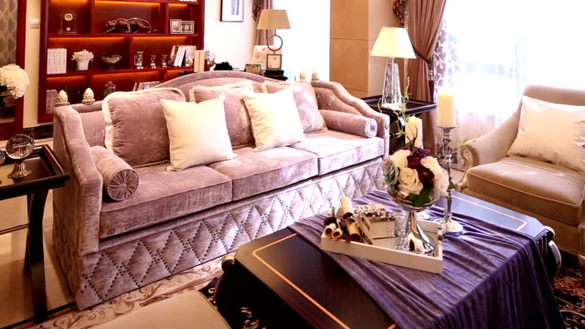 Postmodern luxury living room and decoration, Real time.