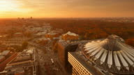 Potsdamer Platz Sony Center Autumn Sunset Skyline with Tiergarten an Traffic