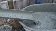 Pouring cement during for construction.