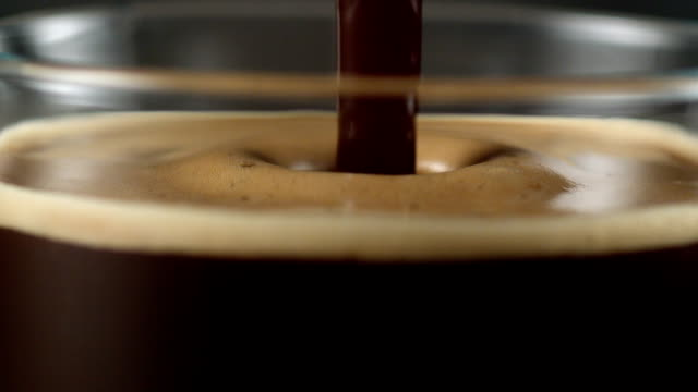 Pouring coffee. Mixing layers
