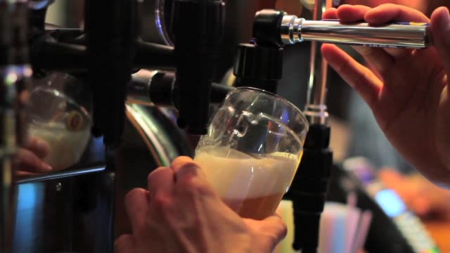Pouring Pint of Beer Behind Bar - Close Up