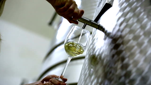 Pouring white wine out of metal tank.