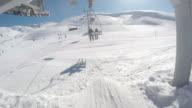 pov man on chairlift at mazaar ski resort