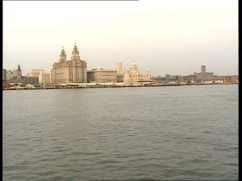 Peter Townsend view Ext Liver building as taken from ferry / Shoppers walking around Shopping Precinct / Exterior shops / Watches on display in...