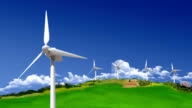 Power Generating Wind Turbines on Green Hills
