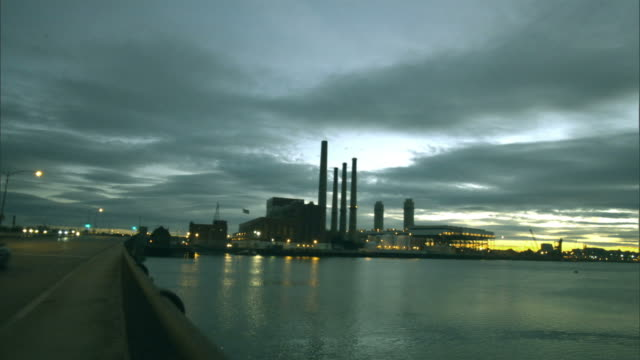 WS, Power plant across river, Boston, Massachusetts, USA
