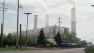 power plant and smoke stacks in real time