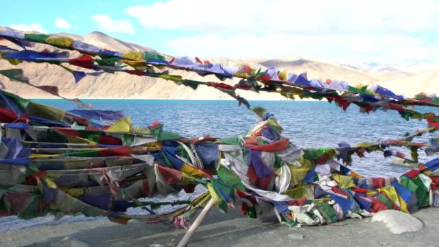 Prayer flags at Pangong Lake, Ladakh, India