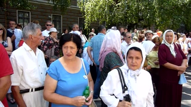 Prayers are held on Monday ahead of a procession through Sarajevo taking the remains of 520 of the victims of the 1995 Srebrenica massacre to be...