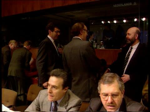 Pre Maastricht EC Summit talks EXT MS Michael Howard MP importance of jobs MS Howard shuffling along LR as chats other delegates PAN LR CMS Howard...