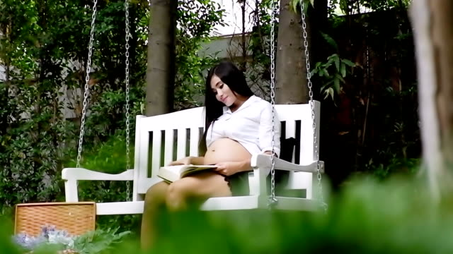 Pregnant woman sitting reading on the bench.