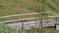 Pregnant woman walking across wooden bridge