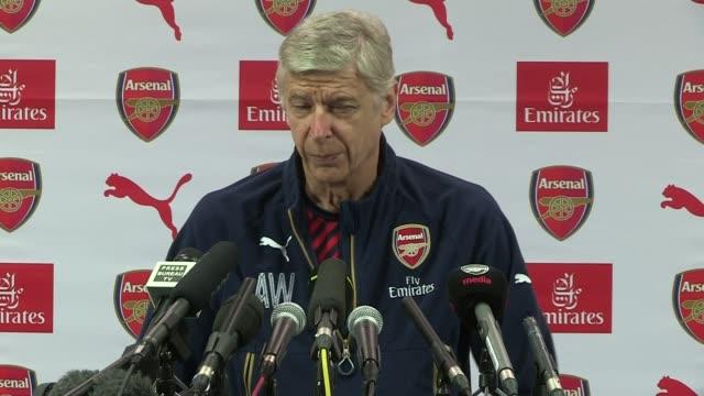 Arsenal Arsene Wenger press conference ENGLAND Hertfordshire Colney INT Arsene Wenger press conference SOT [only kept short amount including comment...