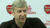 Arsenal press conference England Hertfordshire INT Arsene Wenger into press conference and speaking SOT talks of the team update on last night...