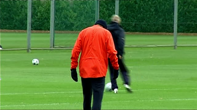 Arsenal squad training Arsenal squad training including Johan Djourou Samir Nasri Gallas Silvestre Fabregas Closeup of Gallas Wide shot of Arsenal...